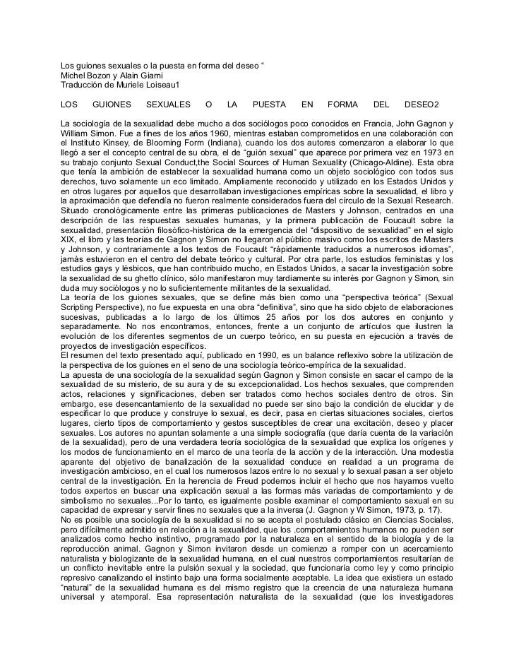 """Los guiones sexuales o la puesta en forma del deseo """"Michel Bozon y Alain GiamiTraducción de Muriele Loiseau1LOS     GUION..."""