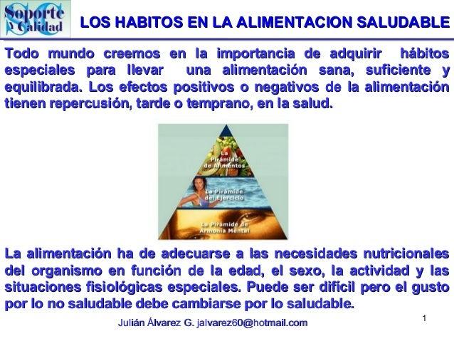 LOS HABITOS EN LA ALIMENTACION SALUDABLETodo mundo creemos en la importancia de adquirir hábitosespeciales para llevar    ...