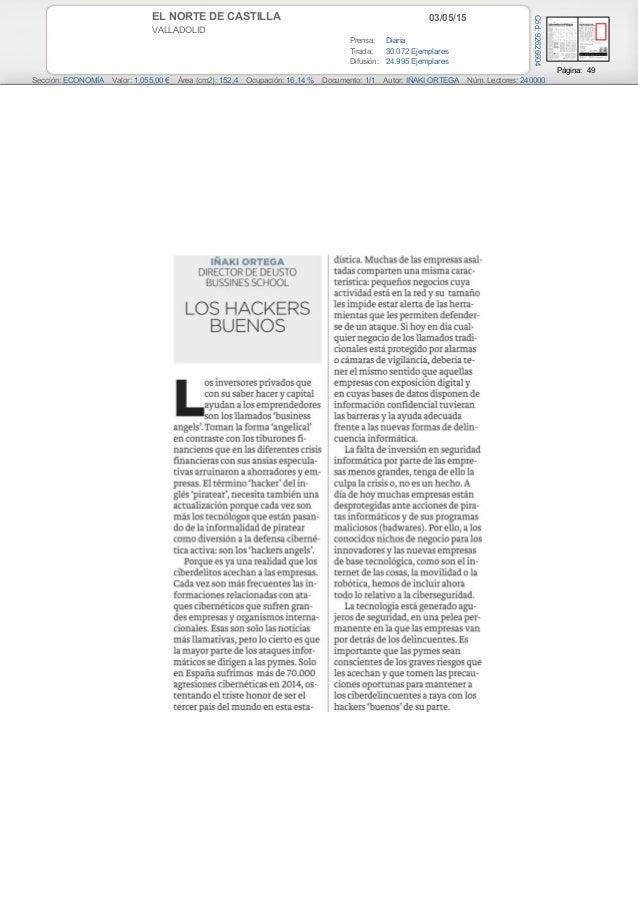 03/05/15EL NORTE DE CASTILLA VALLADOLID Prensa: Diaria Tirada: 30.072 Ejemplares Difusión: 24.995 Ejemplares Página: 49 Se...