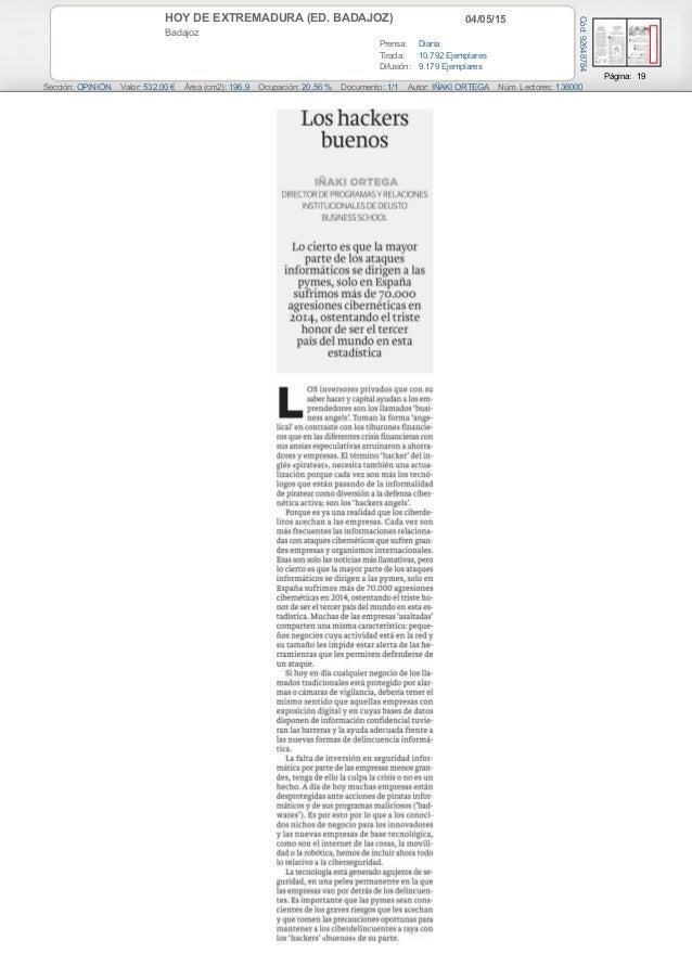04/05/15HOY DE EXTREMADURA (ED. BADAJOZ) Badajoz Prensa: Diaria Tirada: 10.792 Ejemplares Difusión: 9.179 Ejemplares Págin...