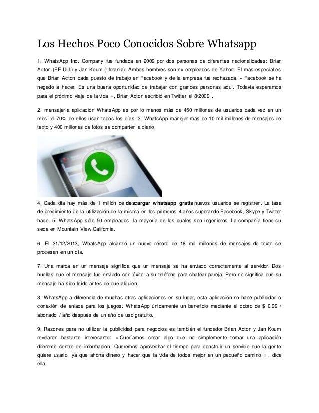 Los Hechos Poco Conocidos Sobre Whatsapp