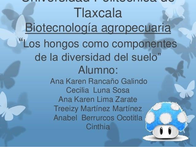 """Universidad Politécnica de Tlaxcala Biotecnología agropecuaria  """"Los hongos como componentes de la diversidad del suelo"""" A..."""