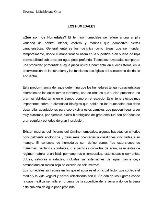 Docente. Lidia Moreno Ortiz LOS HUMEDALES ¿Qué son los Humedales? El término humedales se refiere a una amplia variedad de...