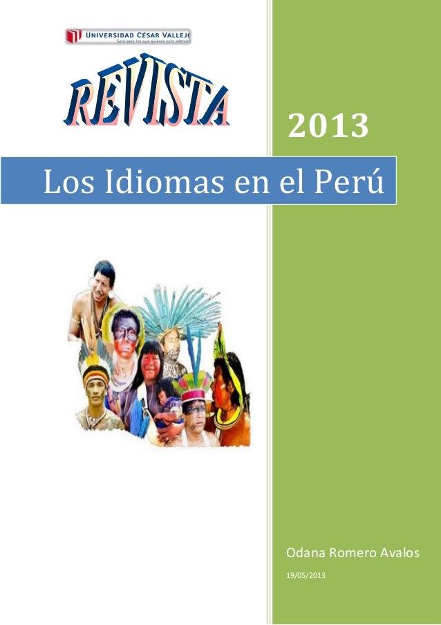 2013Odana Romero Avalos19/05/2013Los Idiomas en el Perú