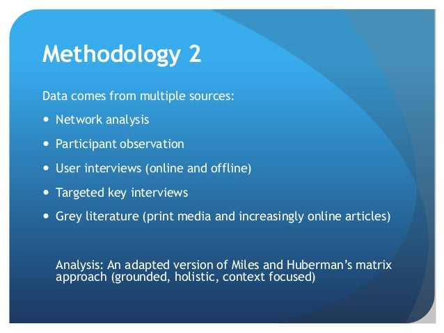 Methodology 2 Data comes from multiple sources:  Network analysis  Participant observation  User interviews (online and...