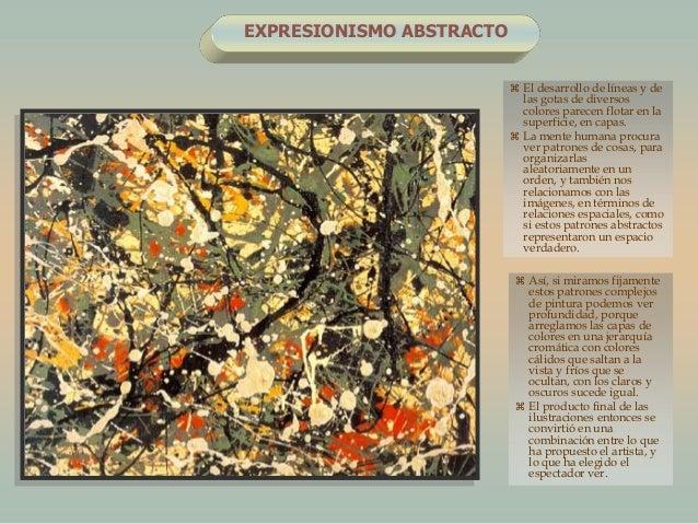 EXPRESIONISMO ABSTRACTO El desarrollo de líneas y delas gotas de diversoscolores parecen flotar en lasuperficie, en capas...