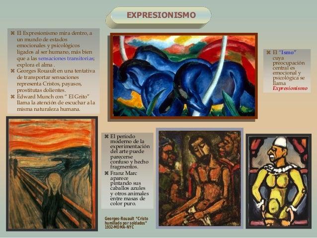 EXPRESIONISMO El períodomoderno de laexperimentacióndel arte puedeparecerseconfuso y hechofragmentos. Franz Marcaparecep...