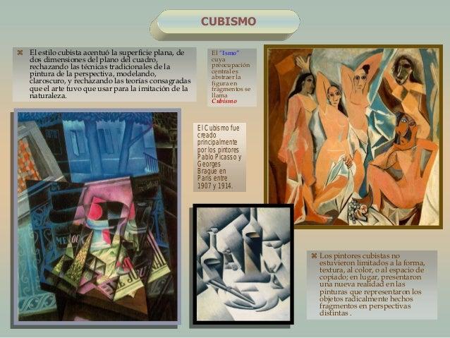 """CUBISMOEl """"Ismo""""cuyapreocupacióncentral esabstraer lafigura enfragmentos sellamaCubismo El estilo cubista acentuó la supe..."""