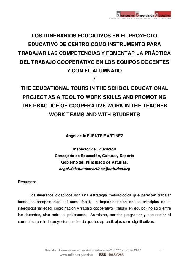 """Revista de la Asociación de Inspectores de Educación de España Revista """"Avances en supervisión educativa"""", nº 23 - Junio 2..."""