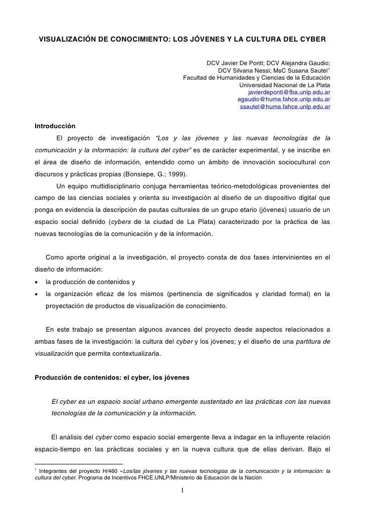 VISUALIZACIÓN DE CONOCIMIENTO: LOS JÓVENES Y LA CULTURA DEL CYBER                                                         ...