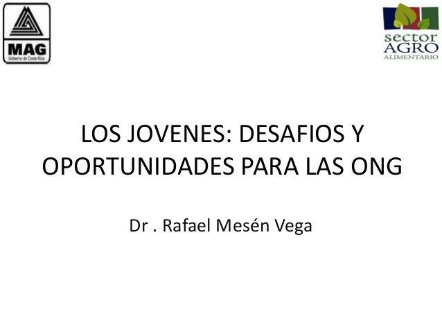 LOS JOVENES: DESAFIOS Y OPORTUNIDADES PARA LAS ONG Dr . Rafael Mesén Vega