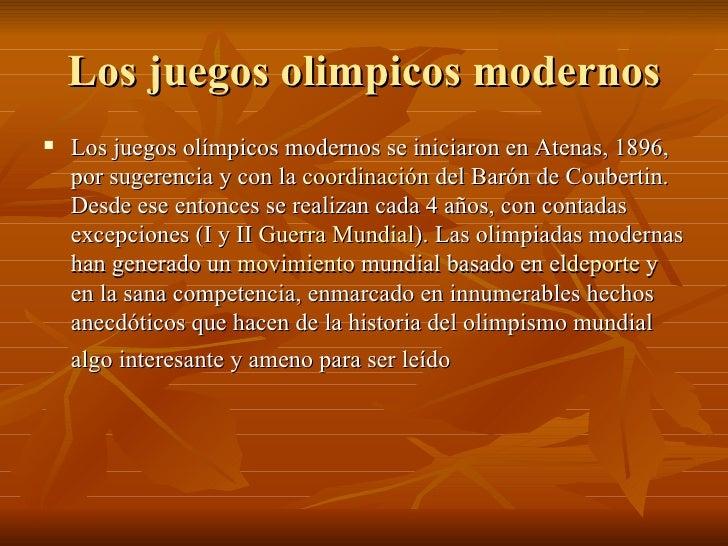 los juegos olimpicos modernos