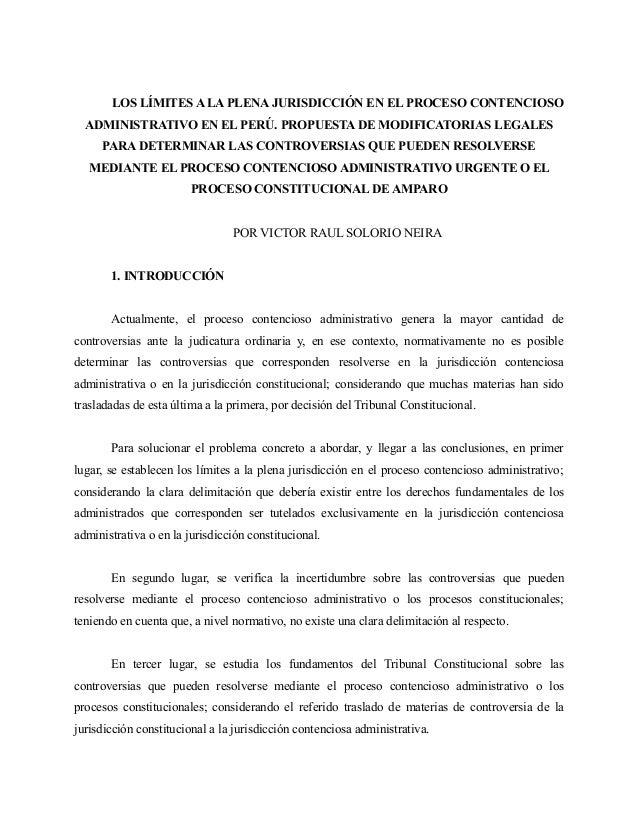 LOS LÍMITES A LA PLENA JURISDICCIÓN EN EL PROCESO CONTENCIOSO  ADMINISTRATIVO EN EL PERÚ. PROPUESTA DE MODIFICATORIAS LEGA...