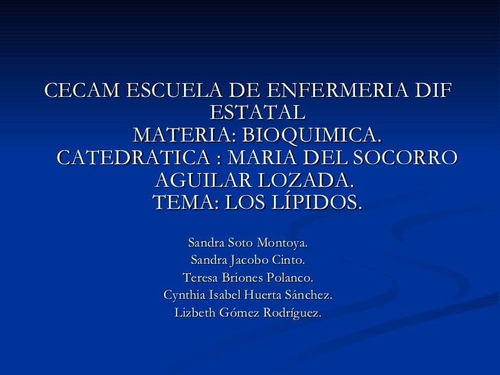 <ul><li>CECAM ESCUELA DE ENFERMERIA DIF ESTATAL MATERIA: BIOQUIMICA. CATEDRATICA : MARIA DEL SOCORRO AGUILAR LOZADA.  TEMA...