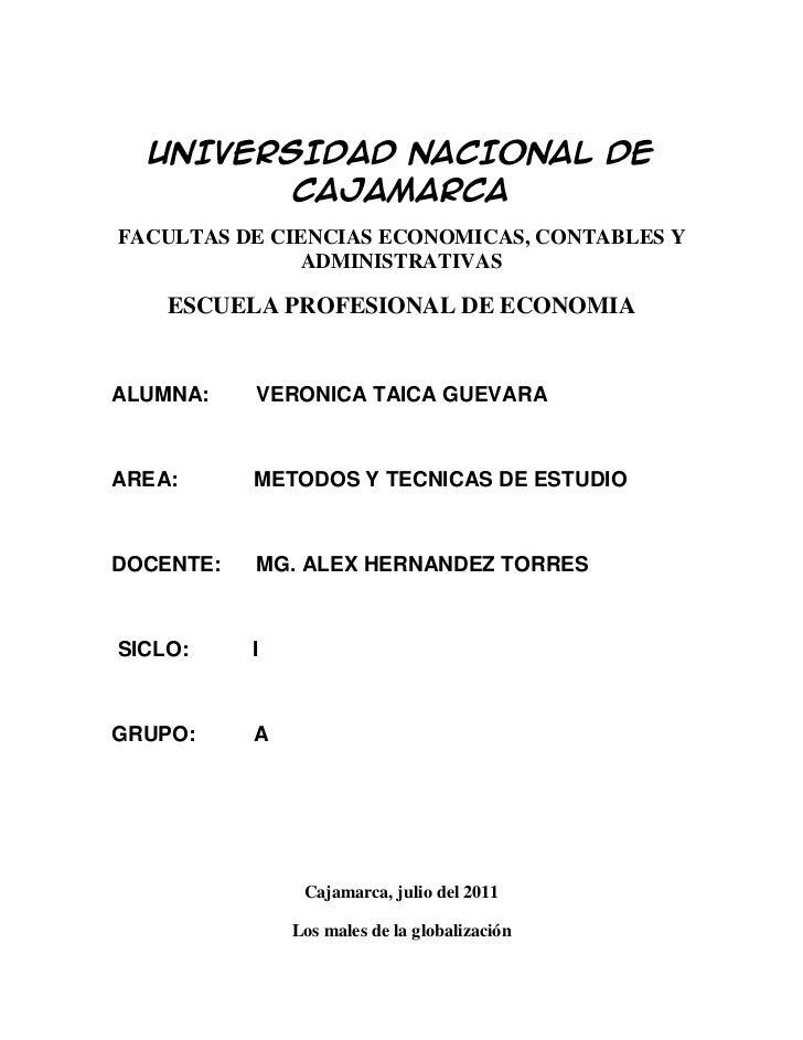 UNIVERSIDAD NACIONAL DE CAJAMARCA<br />FACULTAS DE CIENCIAS ECONOMICAS, CONTABLES Y ADMINISTRATIVAS<br />ESCUELA PROFESION...