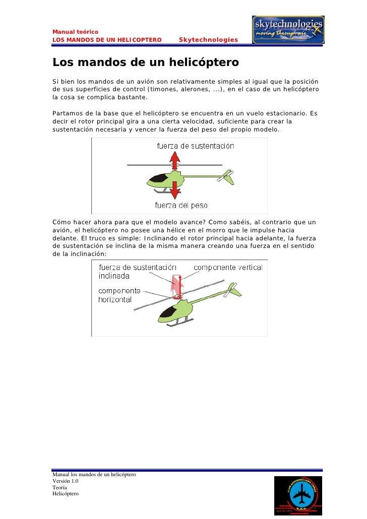 Manual teórico LOS MANDOS DE UN HELICOPTERO            Skytechnologies   Los mandos de un helicóptero Si bien los mandos d...