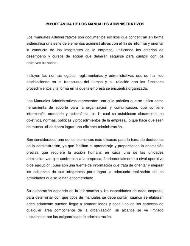 Los manuales administrativos for Manual de procedimientos de una empresa de alimentos