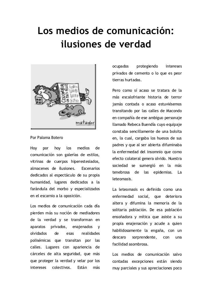 130378b57c Los medios de comunicación  ilusiones de verdad br   Por Paloma Botero  ...