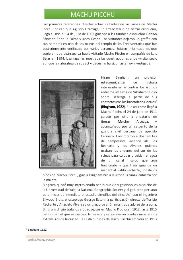 SOFÍA SÁNCHEZ PEREDA 12 MACHU PICCHU con la publicación de todo ello en un artículo en la revista de la National Geographi...