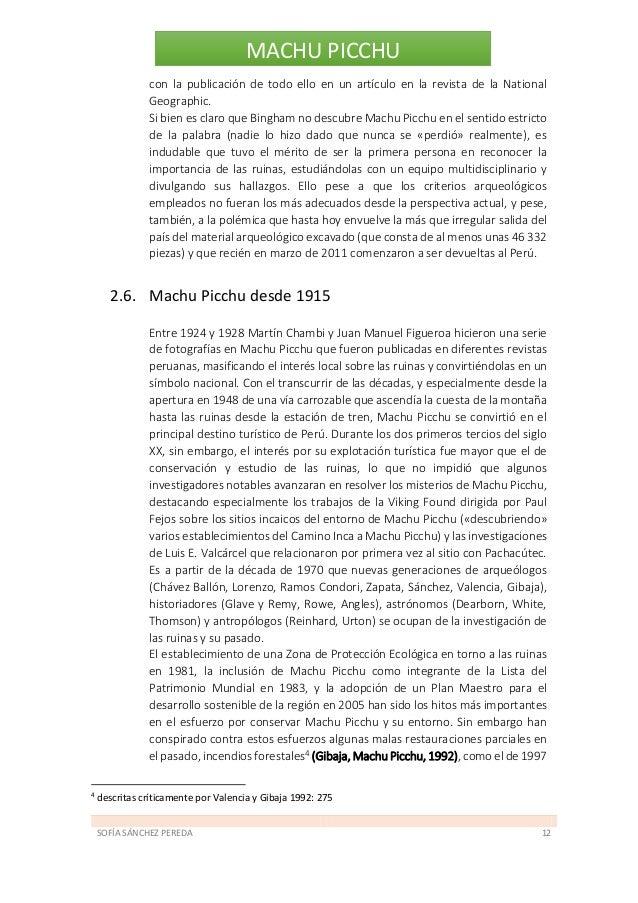SOFÍA SÁNCHEZ PEREDA 13 MACHU PICCHU y conflictos políticos surgidos en las poblaciones cercanas en aras de una mejor dist...
