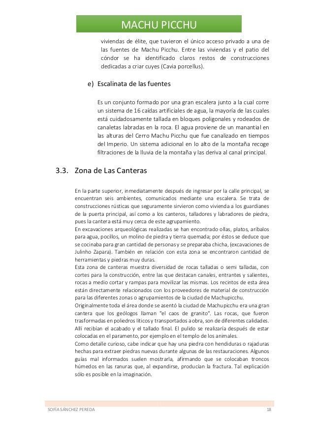 SOFÍA SÁNCHEZ PEREDA 19 MACHU PICCHU 4. Aspectos Constructivos: i. Ingeniería hidráulica y de suelos Una ciudad de piedra ...