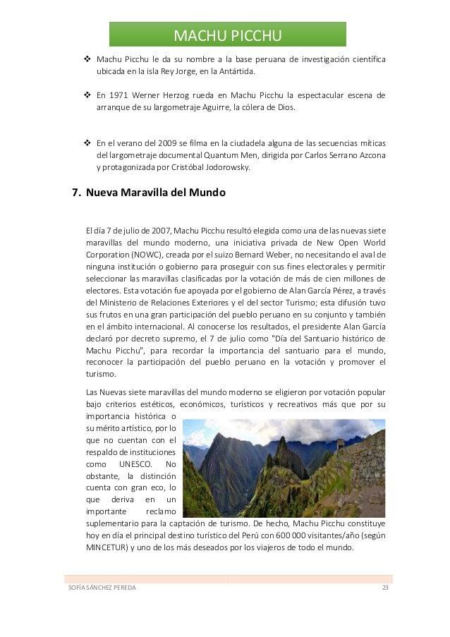 SOFÍA SÁNCHEZ PEREDA 24 MACHU PICCHU Galería Amanecer nublado sobre Machu Picchu desde Inti Punku, en el tramo final del C...