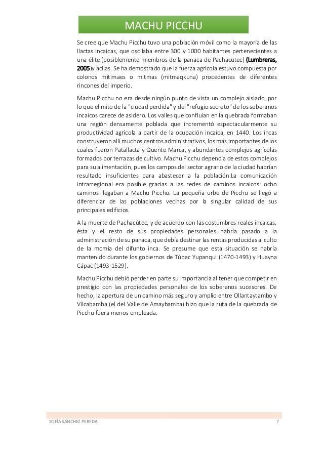 SOFÍA SÁNCHEZ PEREDA 8 MACHU PICCHU 2.2. Época de transición (1534-1572) La guerra civil incaica (1531-32) y la irrupción ...