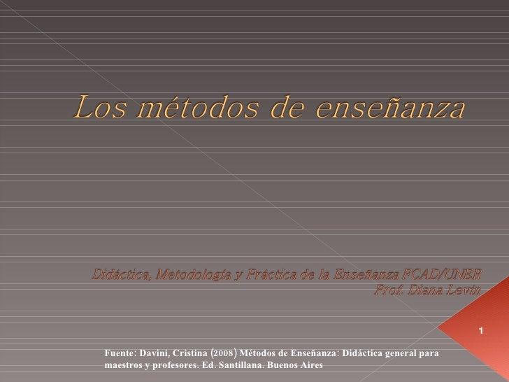 Fuente: Davini, Cristina (2008) Métodos de Enseñanza: Didáctica general para maestros y profesores. Ed. Santillana. Buenos...