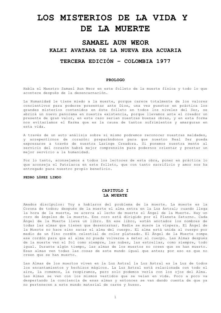 LOS MISTERIOS DE LA VIDA Y               DE LA MUERTE                           SAMAEL AUN WEOR            KALKI AVATARA D...