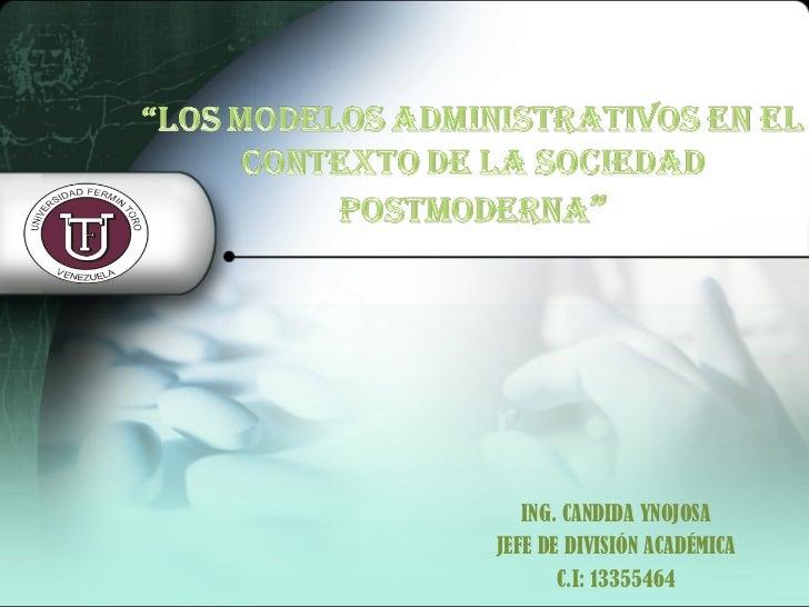 ING. CANDIDA YNOJOSA JEFE DE DIVISIÓN ACADÉMICA C.I: 13355464