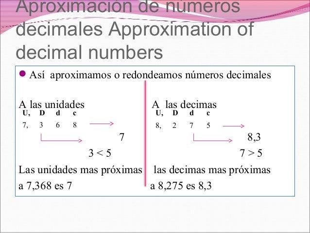 Aproximación de númerosdecimales Approximation ofdecimal numbersAsí aproximamos o redondeamos números decimalesA las unid...