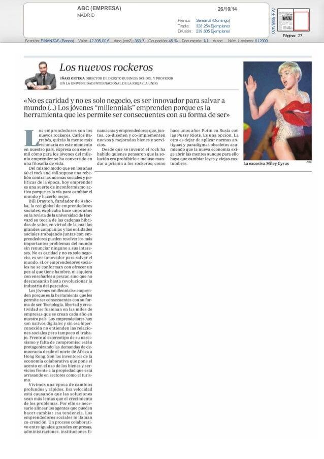 ABC (EMPRESA) 26/10/14  MADRID  Prensa: Semanal (Domingo)  Tirada: 328.254 Ejemplares  Difusión: 239.605 Ejemplares  Págin...