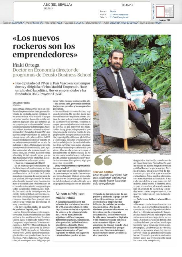 03/02/15ABC (ED. SEVILLA) SEVILLA Prensa: Diaria Tirada: 32.465 Ejemplares Difusión: 23.564 Ejemplares Página: 60 Sección:...
