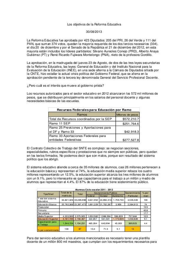 Los objetivos de la Reforma Educativa 30/08/2013 La Reforma Educativa fue aprobada por 423 Diputados: 205 del PRI, 26 del ...