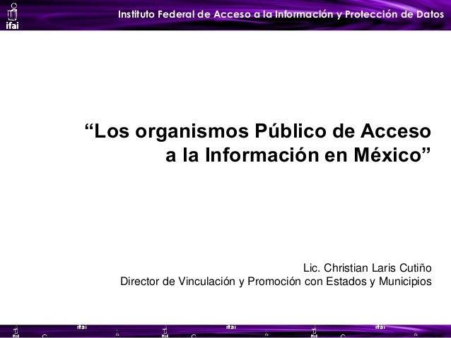 """Instituto Federal de Acceso a la Información y Protección de Datos """"Los organismos Público de Acceso a la Información en M..."""
