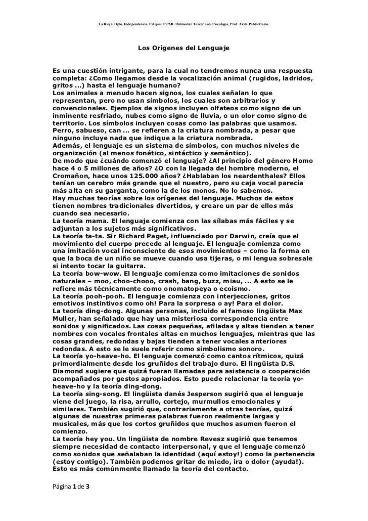 Los Orígenes del Lenguaje<br />Es una cuestión intrigante, para la cual no tendremos nunca una respuesta completa: ¿Como l...
