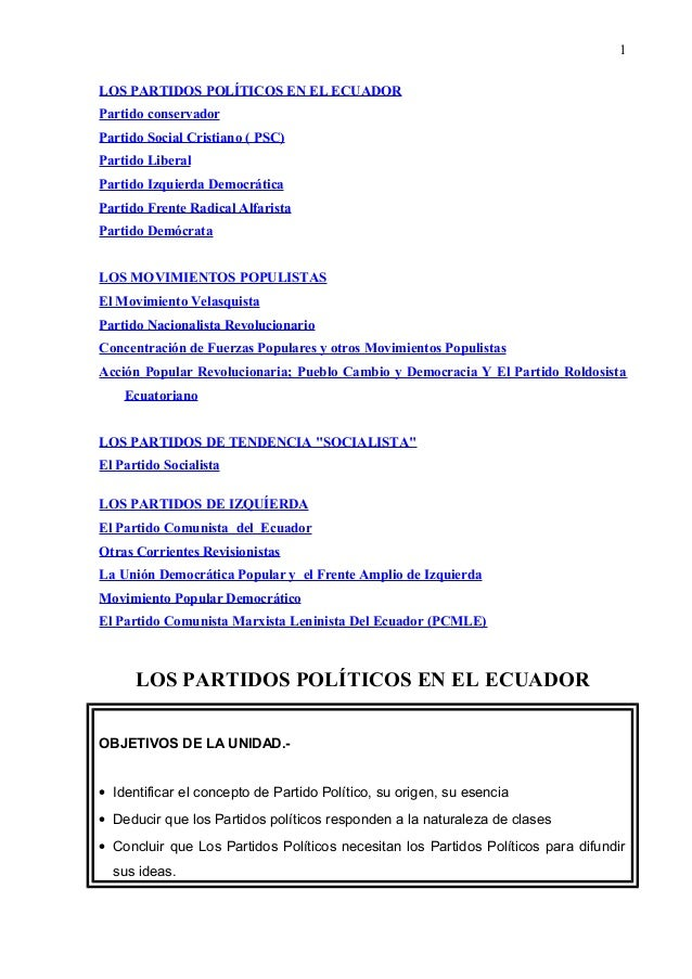 LOS PARTIDOS POLÍTICOS EN EL ECUADOR Partido conservador Partido Social Cristiano ( PSC) Partido Liberal Partido Izquierda...