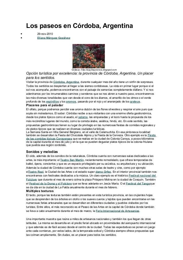Los paseos en Córdoba, Argentina•            29-nov-2010•            Eliana Márquez Gozálvez                              ...