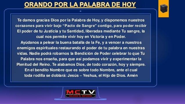 """Te damos gracias Dios por la Palabra de Hoy, y disponemos nuestros corazones para vivir bajo """"Pacto de Sangre"""" contigo, pa..."""