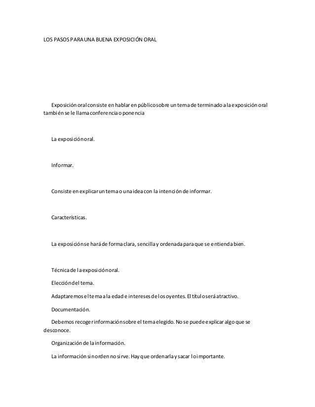 Los pasos para una buena exposici n oral for Pasos para realizar una exposicion
