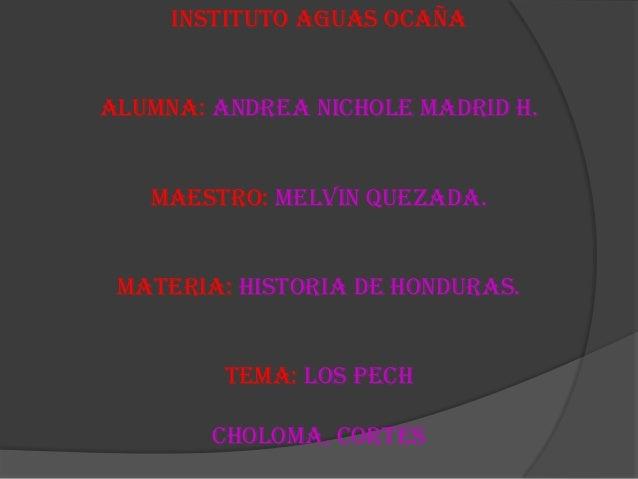 Instituto aguas OcañaAlumna: Andrea nichole Madrid h.Maestro: Melvin Quezada.Materia: historia de honduras.Tema: los pechC...