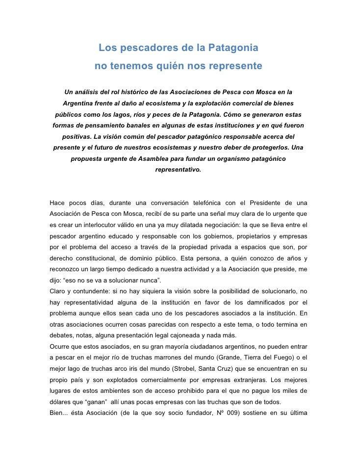 Los pescadores de la Patagonia                 no tenemos quién nos represente       Un análisis del rol histórico de las ...