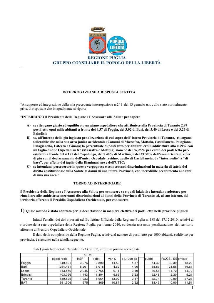 REGIONE PUGLIA                         GRUPPO CONSILIARE IL POPOLO DELLA LIBERTÀ-                                INTERROGA...