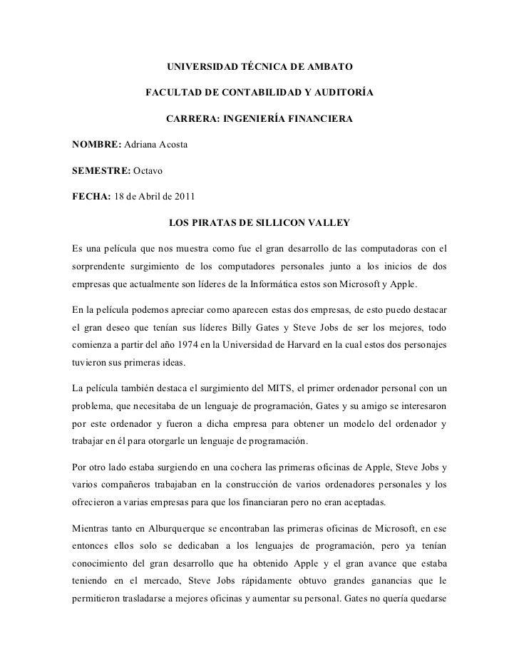 UNIVERSIDAD TÉCNICA DE AMBATO                  FACULTAD DE CONTABILIDAD Y AUDITORÍA                       CARRERA: INGENIE...