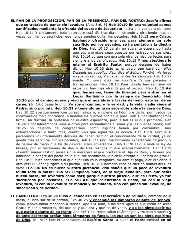 4EL PAN DE LA PROPOSICION, PAN DE LA PRESENCIA, PAN DEL ROSTRO: Josefo afirma   que se trataba de panes sin levadura (Ant....