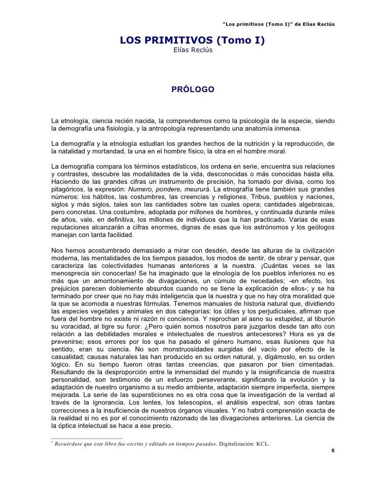 """""""Los primitivos (Tomo I)"""" de Elías Reclús                                 LOS PRIMITIVOS (Tomo I)                         ..."""