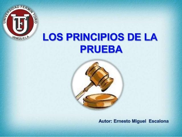 Principio de la Unidad de la Prueba Efectivamente; la prueba esta compuesta de diversas piezas, como referimos, es una sol...