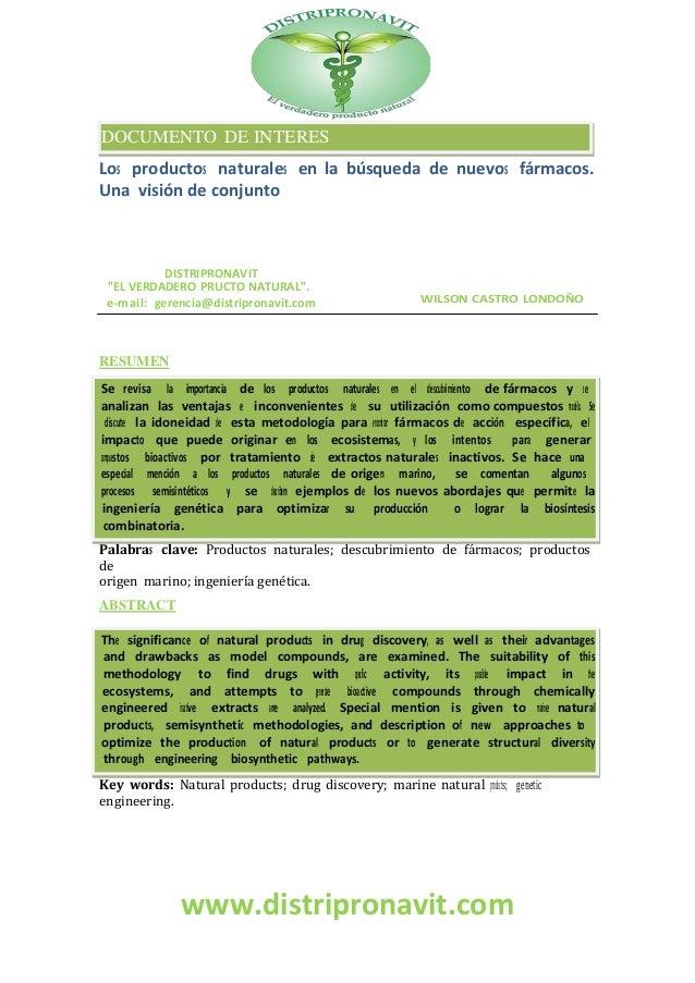 """www.distripronavit.comLos productos naturales en la búsqueda de nuevos fármacos.Una visión de conjuntoDISTRIPRONAVIT""""EL VE..."""