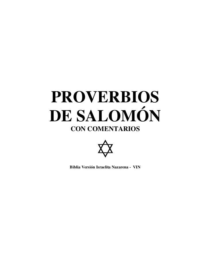 PROVERBIOSDE SALOMÓN CON COMENTARIOS             ✡ Biblia Versión Israelita Nazarena - VIN