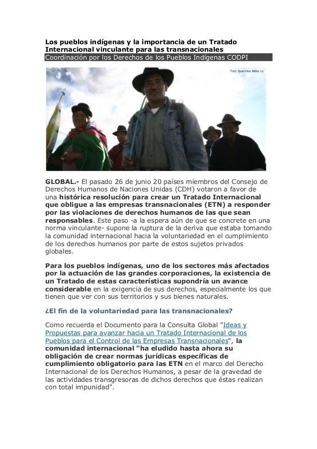 Los pueblos indígenas y la importancia de un Tratado Internacional vinculante para las transnacionales Coordinación por lo...